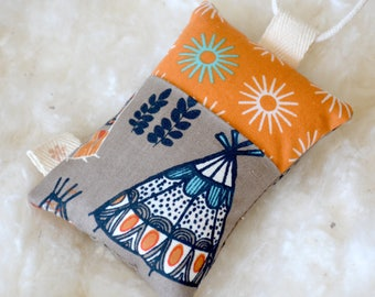 ORGANIC - Little Tooth Fairy Pillow - teepee - Lost tooth, pocketed pillow, kids stuffed toy, keepsake, lavender sachet.