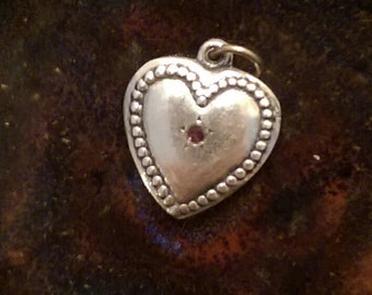 Vintage sterling puffy heart charm amethyst charm pendant of keychain charm vintage Valentine's day gift