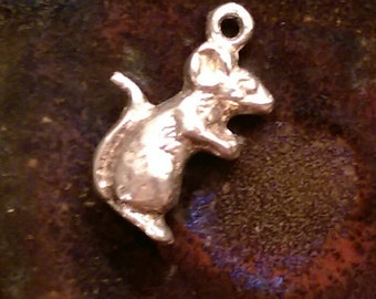 Vintage sterling mouse rat charm pendant or keychain charm