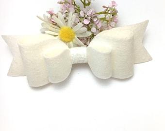 White hair bow, felt bow, wedding hair accessories, hair clips, baby headbands, bow headbands