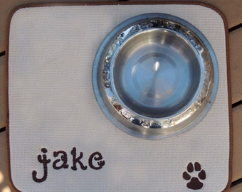 Personalized dog water mat, dog dish floor mat, custom pet mat, cat water dish floor mat