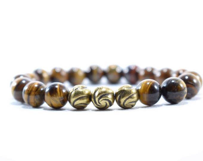 Men's Bracelet with Tiger Eye and Bronze tone metal beads.