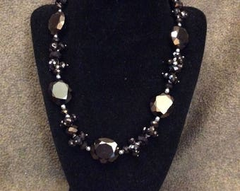 Iridescent Brown Glass Beaded Necklace