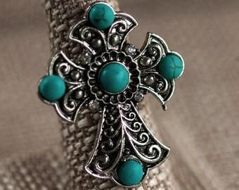 Celtic/Cross/Old World/Turquoise/Boho/Religious/Christian/Viking/English/Orthodox/Renaissance/Catholic/Statement/Ring