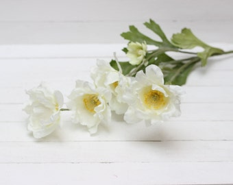 4 flowers on the stem  Real touch flowers Artificial flower Fake flowers White flowers Flower heads  - item 5227