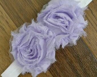 Newborn Lavender and white shabby headband