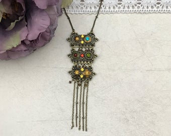 Bohemian drop  necklace,antique gold, boho necklace, boho  jewelry, gift for her, birthday gift, anniversary gift, gift under 25,