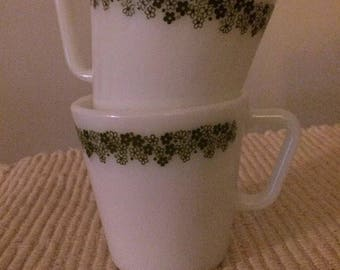 Lot of 2 Vintage Pyrex #1410 Crazy Daisy Mugs-Green Daisy Milk Glass Coffee Cups
