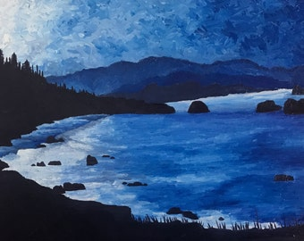 Ecola State Park original oil painting seascape ocean waves contemporary Oregon coast blue landscape by Sarah Lynch 14x18