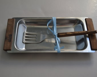 Kalmar Stainless Steel Snack Tray w/Fork - Made in Denmark