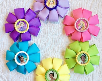 Rapunzel hair bows- Tiana hair bows- princess hair bows/barrettes - handmade hair bows