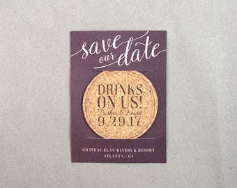 Drinks On Us Modern Purple and Blush Pink Cork Coaster Save the Date with Envelope
