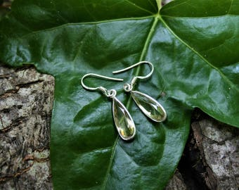 Lemon Quartz Teardrop Drop Earrings, Sterling Silver