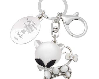 Keychain bag cat engraved with your text and name jewelry