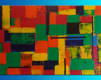 Geometric abstract acrylic on canvas