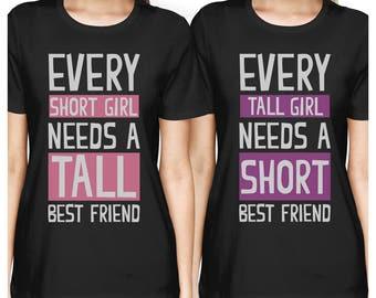 Best Friend Shirts - Short and Tall Best Friends BFF Matching T-shirts <FT022>