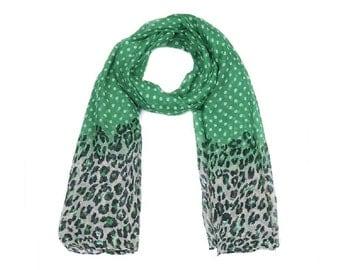 Green Spot and Animal Print Long Scarf SC2015j