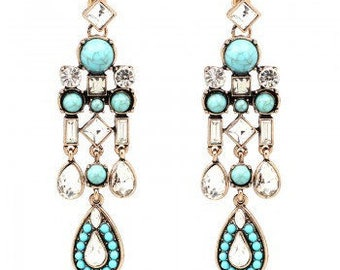 Turqouise & Crystal Chandelier Earrings