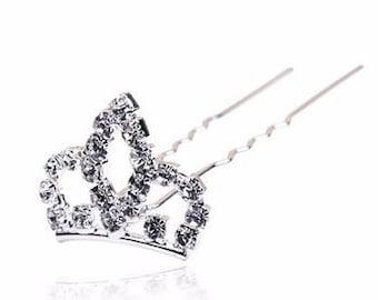 2x Mini Crown Jewelled Hair Pins - Bridal, Bridesmaid, Flower Girl, Prom