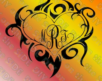 SVG Cut File Tribal Heart Instant Download