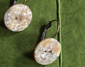 20mm Rainbow speckled Mother of Pearl Vintage Button Earrings