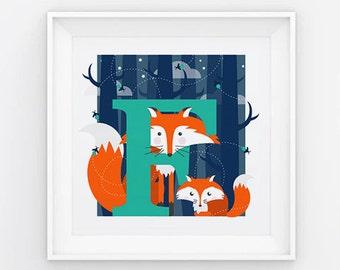 Fox letter print, animal alphabet print, letter F print, nursery print, gift for baby, gift for animal lover, square fox print