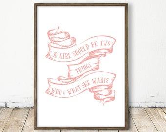 baby girl quote, printable little girl print, pink wall art, baby room art, printable nursery, nursery art, pink nursery, pink wall decor
