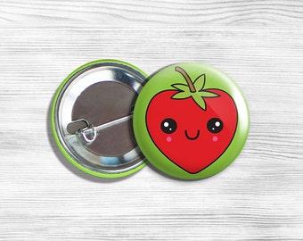 """Kawaii Strawberry Vegan Vegetarian Fruit Pinback Button Pin 1.75"""""""