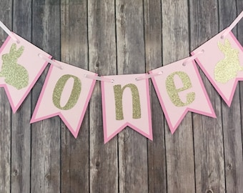 Glitter Bunny One High Chair Banner, High Chair Banner, First Birthday, Photo Prop, Easter Birthday