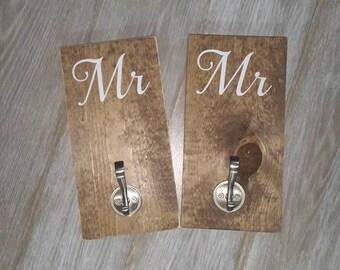 Mr and Mrs Sign, Wood Towel Holder, Towel Hook, Bride Gift, Bride Groom Sign, Wedding, Mrs and Mrs, His and Hers, His and His, Hers and Hers