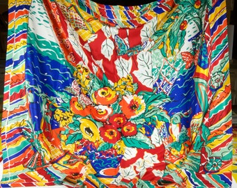 """Spectacular!!! Ginnie Johansen 39"""" silk scarf in a riot of colorful flowers, butterflies, fruit, sunshine and seaside moods a la Gaugin."""