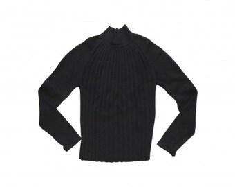 Emmanuelle Khanh : black wool pleated sweater, size M, vintage 80s