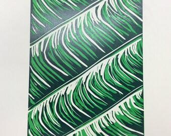 Set of Three waves linocut print A4