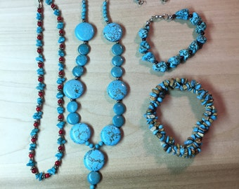 Howlite jewelry with silver findings