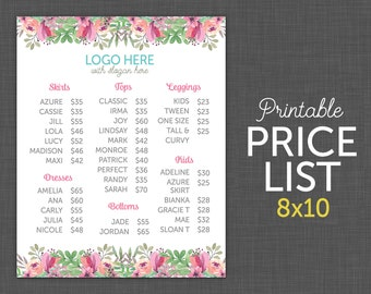 Price List Chart Floral Sign Custom And