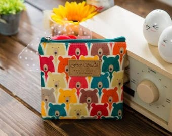 Cute Square Pattern Mini Pouch - Panda (Green, Blue), Bear - for picnic, lipstick, cosmetics bag