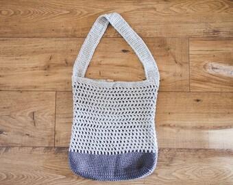 Crochet Market Bag--Dove/Gray