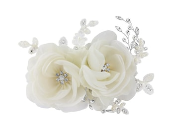 BLOSSOM - Ivory Fabric Flower Crystals & Pearls Hair Piece