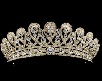 ELAINE - Gold Tiara Crown