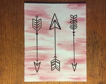 "3 Arrows Acrylic Painting - 8x10"" Canvas Board"