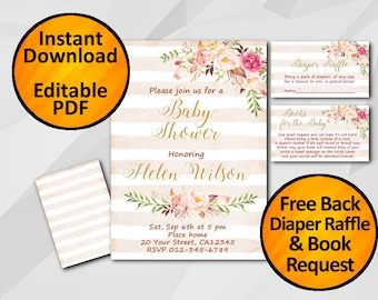 SALE 60% OFF-Instant Download Baby Shower Invitation Watercolor Peach stripe Editable free diaper raffle free book request free back X302ps1