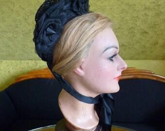 1890 Cabochons Bonnet, antique Bonnet, antique Hat, Victorian Bonnet, Germany