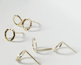 Gold Hammered Circle Stud Earrings