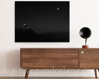 Setting Sun, Rising Moon (Wrapped Canvas Giclée print Photography Home Decor Wall Art Fine Art Print Sun Moon The Alps Austria Italy)