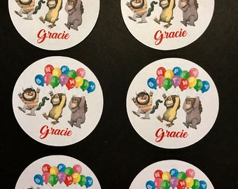 Precut Where the Wild Things Birthday Balloons- edible images - available for cupcakes and cookies