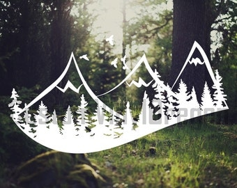 Mountains Decal | Trees Mountains Decal | PNW Decal | Mountain Decal | Forest Decal | PNW Mountain Decal | Explore Decal