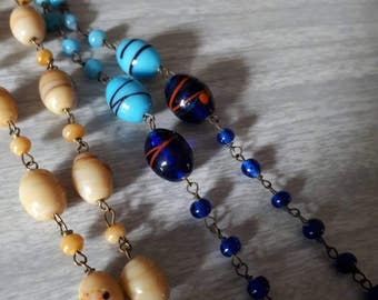 Long Beaded Venetian Necklaces Blue or Pale Yellow