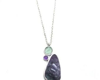 Gaea Necklace - Rhodium - Rainbow Fluorite