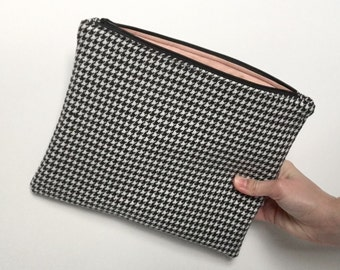 Fabric Clutch Bag, Upcycled Bag, Zipper Clutch, Houndstooth Print, Handmade Clutch, Party Clutch, Christmas Gift for Her, LoadedBobbins