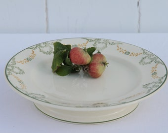 French vintage Longwy 'Georges' cake stand - low